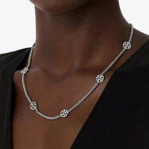"""NEW 18"""" Tory Burch Delicate Silver Logo Necklace"""